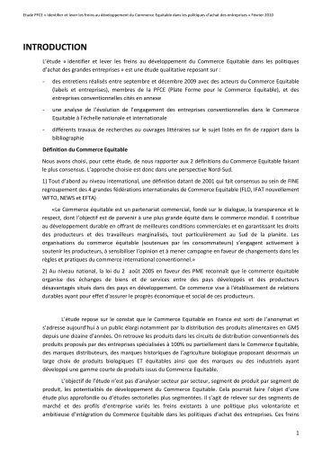 INTRODUCTION - la Plate-Forme pour le Commerce Équitable