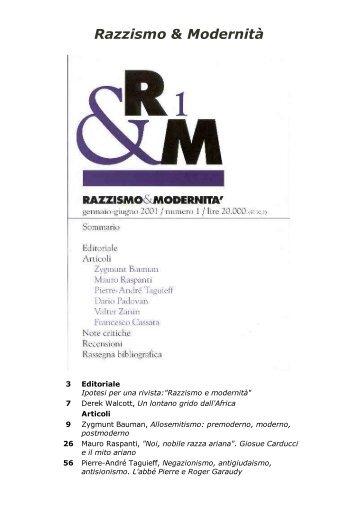 Razzismo e modernita' - Centro documentazione Pistoia