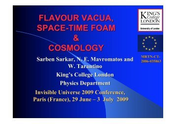 Contributions to Dark Energy from flavour vauca ... - Univers Invisible