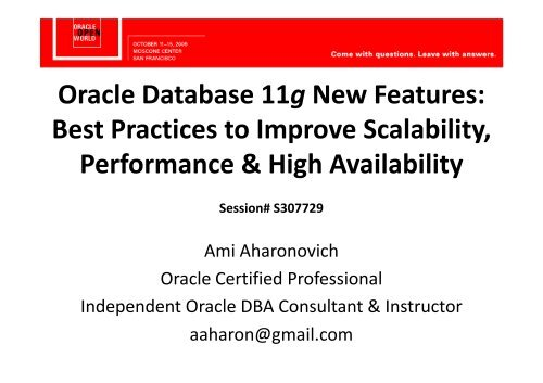 Oracle 11g New Features Workshop Training Course – ORA500