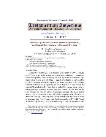 Dr. John Calvin Wingard, Jr., A Compatibilist ... - PreciousHeart.net