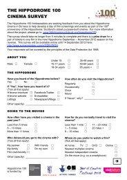 THE HIPPODROME 100 CINEMA SURVEY - Falkirk Community Trust