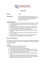 Job description - The Queen's School