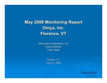 Spring 2008 Monitoring Report Presentation - Omya in Vermont