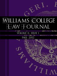Volume II Issue I Fall 2012 - Williams College Law Society