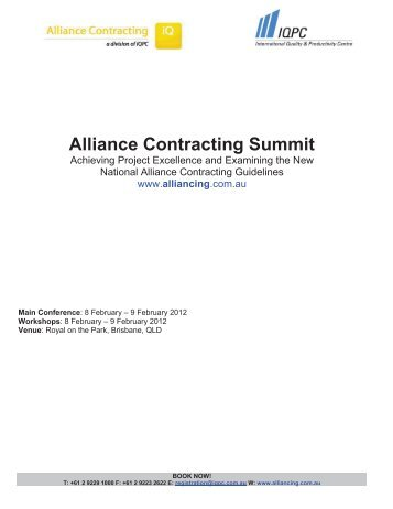 Alliance Contracting Summit 2012 - Civil Contractors Federation