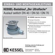 """KESSEL-Badablauf """"Der Ultraflache"""" Auslauf seitlich DN 40 / DN 50 ..."""