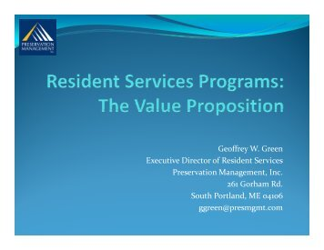 Geoffrey W. Green Executive Director of Resident Services ...