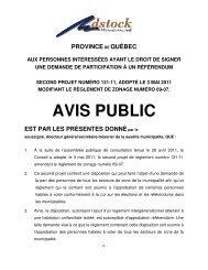 AVIS PUBLIC - Municipalité Adstock