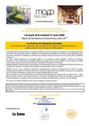 Les jeudi 26 & vendredi 27 mars 2009 Les Scènes de ... - FNCC