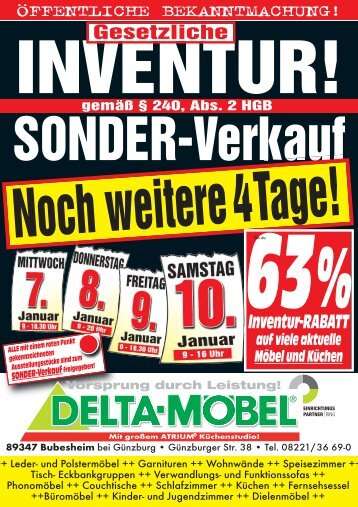 63%Inventur-RABATT - bei DELTA-Möbel