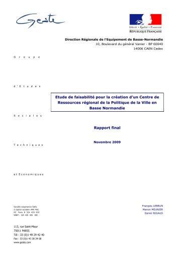 Etude de faisabilité pour la création d'un Centre de ... - DRJSCS