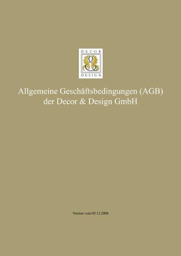 Allgemeine Geschäftsbedingungen (AGB) der Decor & Design GmbH