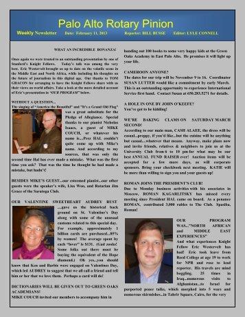 February 11, 2013 - Palo Alto Rotary