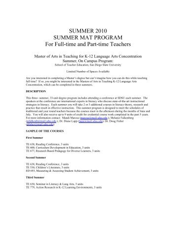 SUMMER 2010 SUMMER MAT PROGRAM For Full-time and Part ...