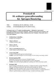 Protokoll til 18. ordinære generalforsamling for Sjøvegen Huseierlag