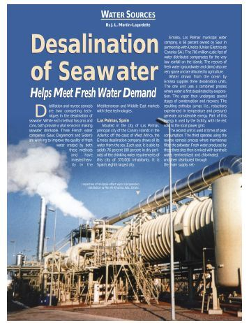 desalination of seawater Seawater desalination costs page 2 for many years, planners have used tools generally available in the marketplace to determine relative.