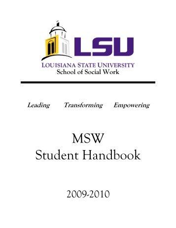 MSW Student Handbook - LSU School of Social Work - Louisiana ...