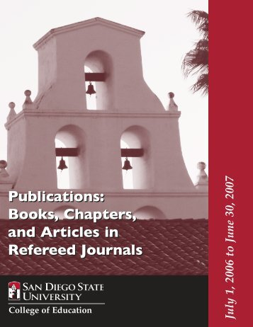 Publications: Books, Chapters, and Articles in Refereed Journals ...