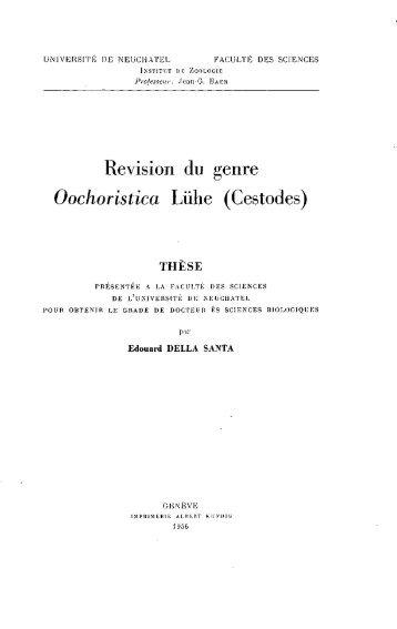 Revision du genre Oochoristica Luhe (Cestodes)