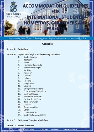 ACCOMMODATION GUIDELINES FOR ... - nghs.school.nz
