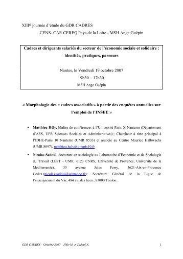 HELY Matthieu, SADOUL Nicolas - GDR Cadres - CNRS