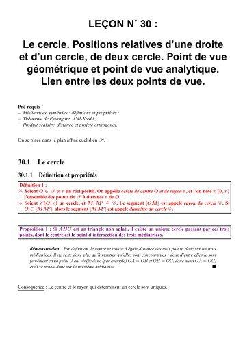 LEÇON N˚ 30 : Le cercle. Positions relatives d ... - CAPES de Maths