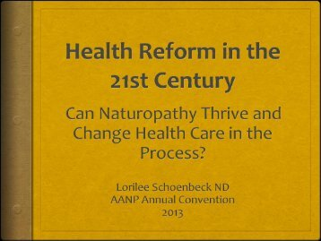 Primary Care - American Association of Naturopathic Physicians