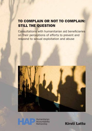 TO COMPLAIN OR NOT TO COMPLAIN: STILL ... - HAP International