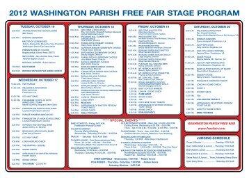 2012 WASHINGTON PARISH FREE FAIR STAGE PROGRAM