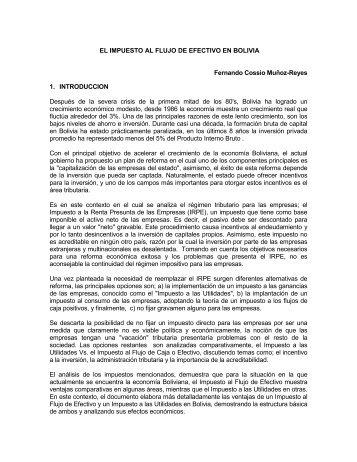 El Impuesto Al Flujo De Efectivo En Bolivia. - Unidad de Análisis de ...