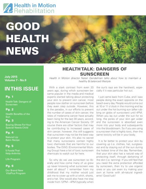 Good Health News - July 2015