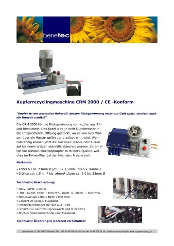 Kupferrecyclingmaschine CRM 2000 / CE -Konform