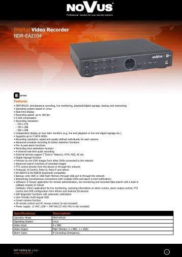 Digital Video Recorder NDR-EA2104 - NOVUS