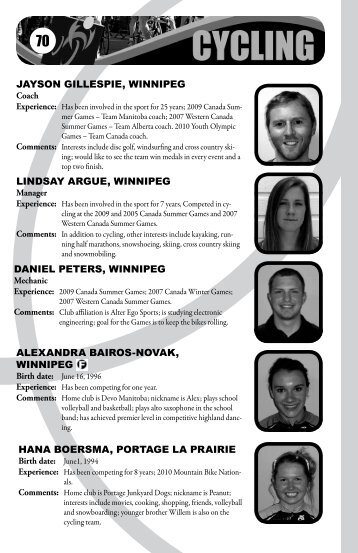 JAYSON GILLESPIE, WINNIPEG LINDSAY ... - Sport Manitoba