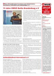 OWUS-AKTUELL Ausgabe April 2010