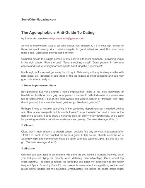 The Agoraphobic's Anti-Guide To Dating - Shelly Mazzanoble / Writer