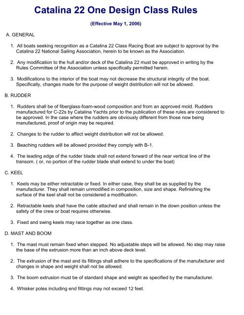 Catalina 22 One Design Class Rules