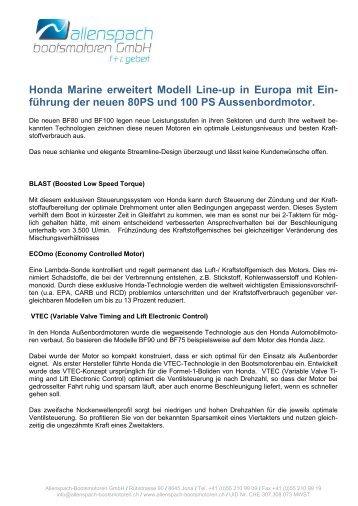 Weitere Info und technische Daten - Allenspach Bootsmotoren GmbH