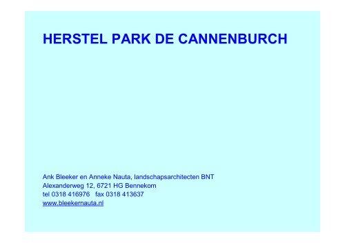 Presentatie Cannenburch, Anneke Nauta - Nationale Bomenbank