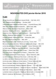 NOUVEAUTES DVD janvier-février 2010 FILMS