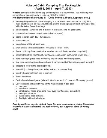 Nobscot Cabin Camping Trip Packing List (April 5, 2013 – April 7 ...