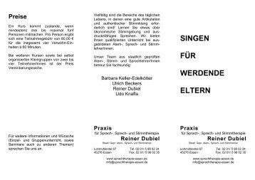 SINGEN FÜR WERDENDE ELTERN - Praxis für Sprach-, Sprech