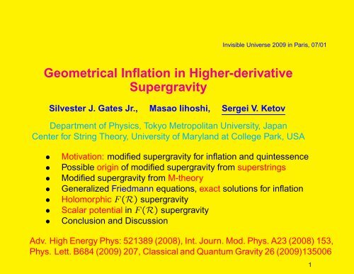 Geometrical Inflation in Higher-derivative     - Univers Invisible