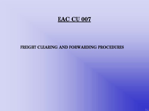 Freight clearing and forwarding procedures - PDF, 101 mb