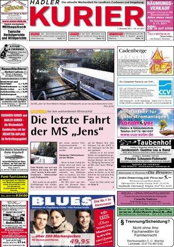"""Die letzte Fahrt der MS """"Jens"""" - CNV-Kuriere"""