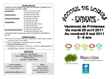 plaquette vacances printemps 2011.pub - Nouvoitou