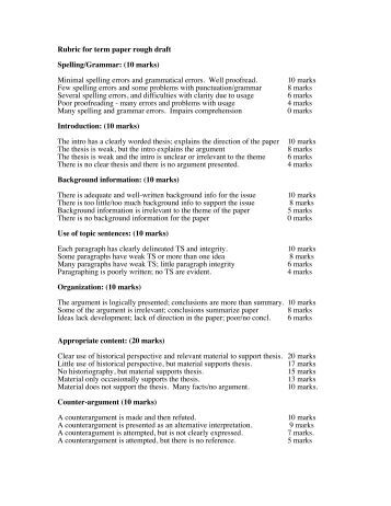 rubric for term paper Directions: your essay will be graded based on this rubric consequently, use this rubric as a guide when writing your essay and check it again before you submit your essay traits 4 3 2 1 focus & details there is one clear, well- focused topic main ideas are clear and are well supported by detailed and accurate.