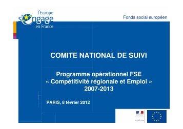 état d'avancement - Fonds Social Européen en France
