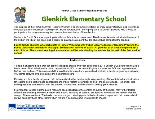 Fourth Grade Summer Reading Program - Glenkirk Elementary School